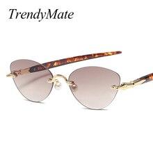 2018 Women Rimless Little Cat Eye Sunglasses Trending Spring Summer Styles Ladies Tea Cute Pearl Nose Sun Glasses for Men 1310T