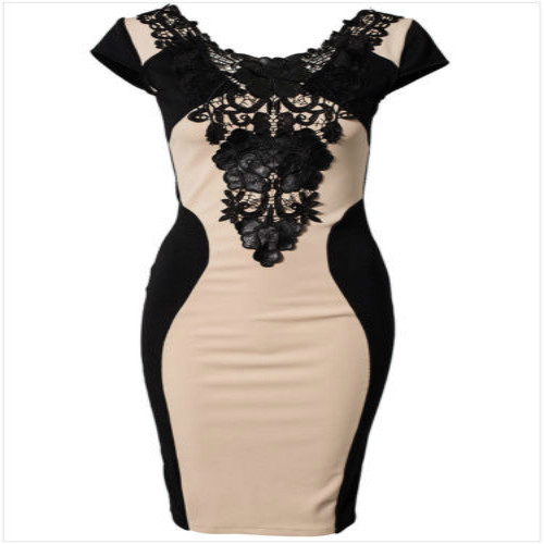 Women Lace Formal Prom Party Evening Short Mini Dress Floral Print O Neck Short Sleeve Dress