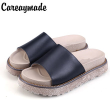 Careaymade-New Hot selling Summer Rome slippers, a ladys cold shoulder tuffed round muffin female slippers,2 colors