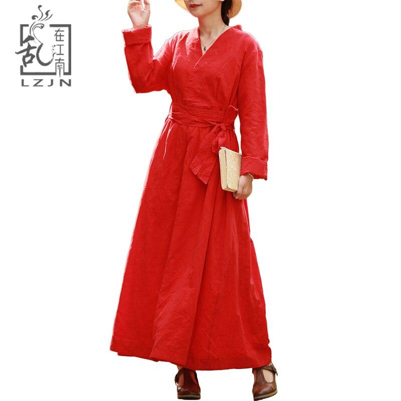 LZJN Jacquard Red Dress Long Sleeve 2018 Autumn Wrap Front Maxi Tunic Dress for Women V Neck High Waist with Belt Vintage Robe