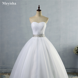 ZJ9040 2019 strapless diamond White Ivory formal Crystal Beads Wedding Dresses 2018 Bridal Dress plus size elegant wholesale 4