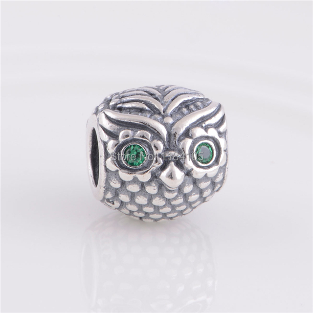 c42a3c290 2014 NEW 925 Silver Wise Owl Beads and Charms with Dark Green CZ Eyes Fit  Pandora Bracelet Necklaces & Pendants LW289