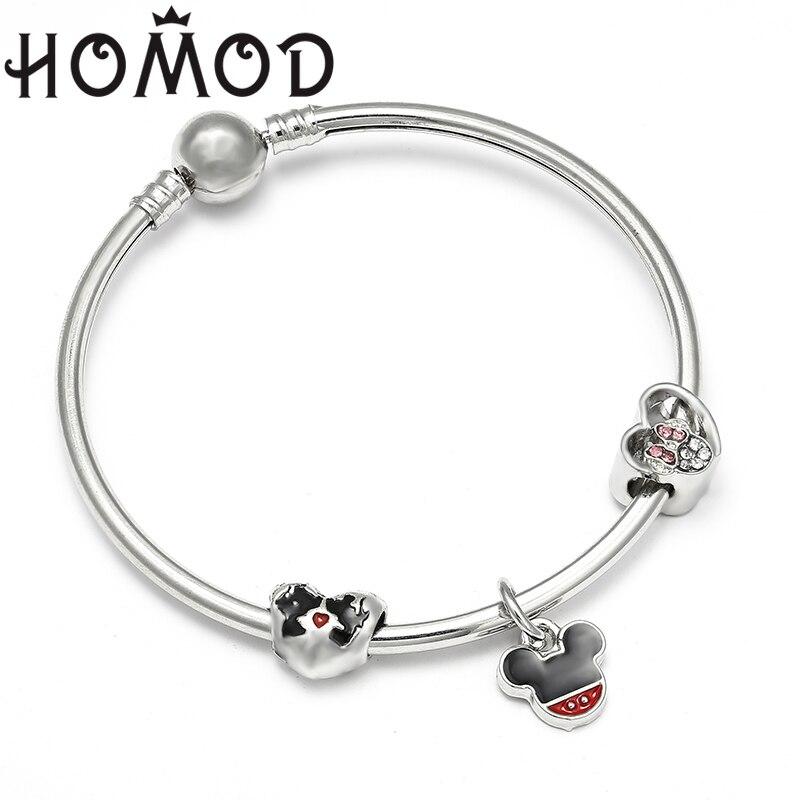 HOMOD Handmade Mickey Minnie Beads Pandora Bracelet & Bangles fits Women Pulseira Jewelry DIY Charm Bracelets Dropship
