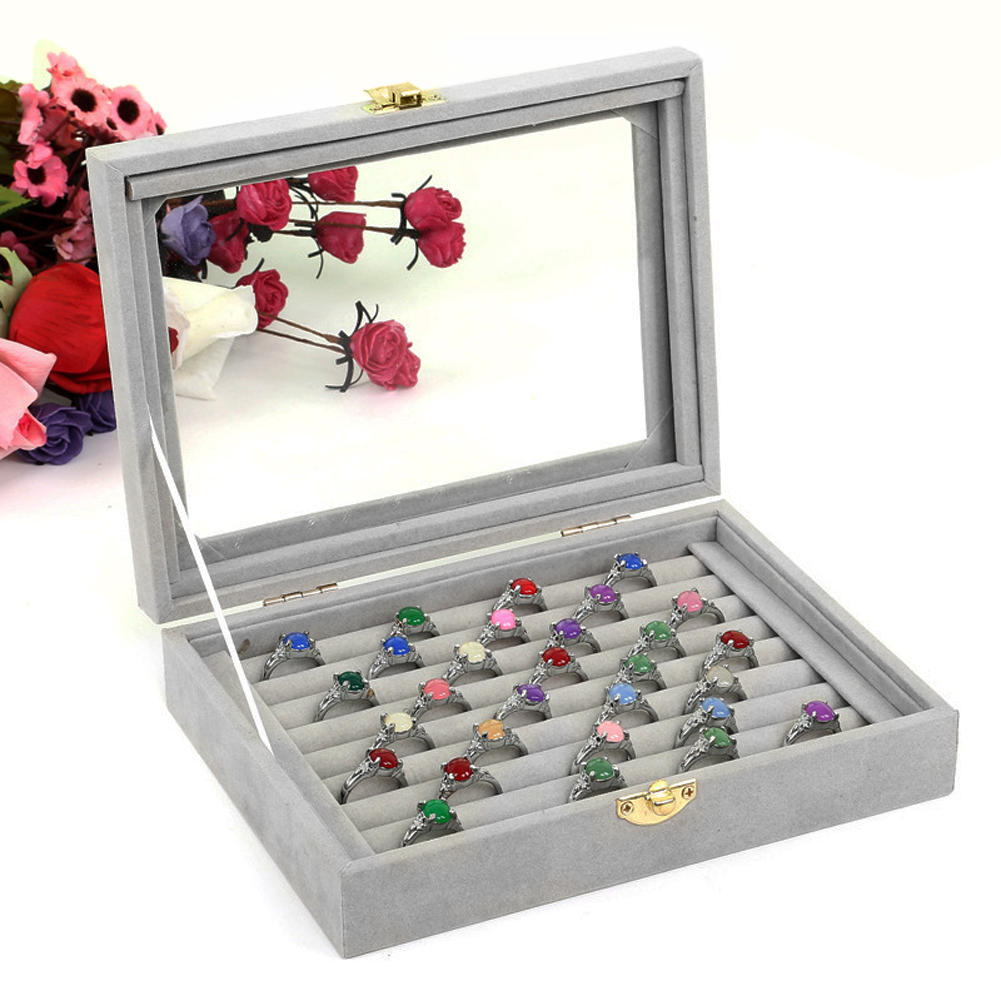 2018 Gray Velvet Glass Jewelry Box Rings Necklaces Storage Display Box Makeup Holder Case Organizer Ear Studs Jewelery Storage