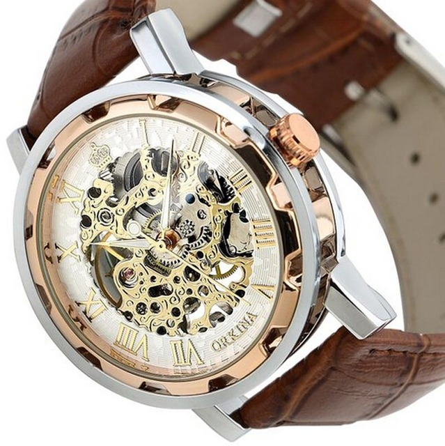 relogio masculino 2017 Hot Sale mens watches top brand luxury Fashion Leather Band Stainless Skeleton Mechanical Wrist Watch-in Mechanical Watches from Watches on Aliexpress.com | Alibaba Group