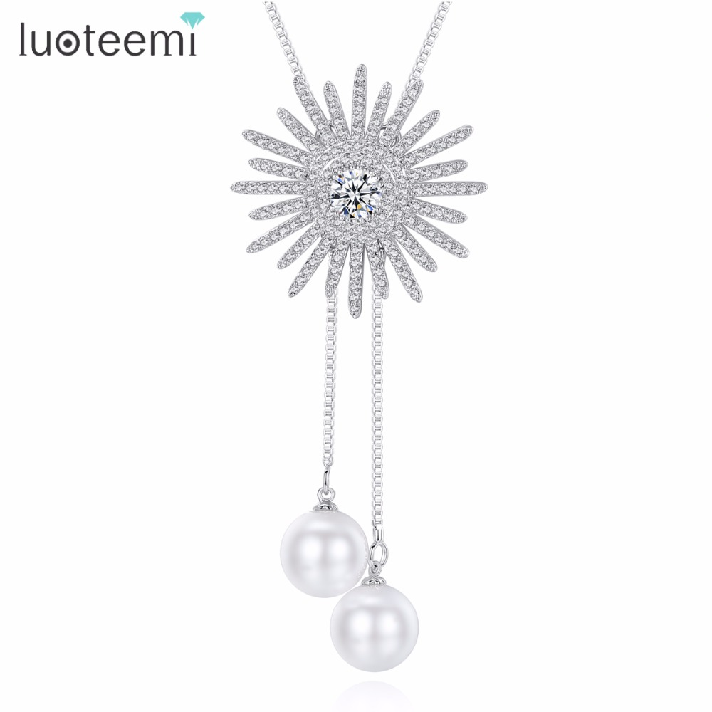 LUOTEEMI Fashion White Gold Color Star Necklace With CZ Stone And Imitation Pearl for Women Link Chain Pendant Necklace Gifts