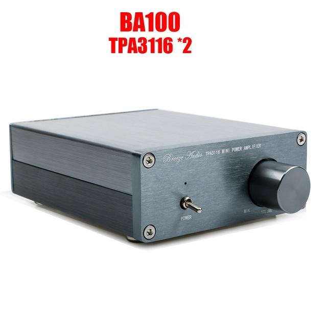 Breeze Audio amplificador de potencia Digital BA100 HiFi clase D, tpa3116d2 TPA3116 Advanced 2x100W, Mini caja de aluminio para el hogar