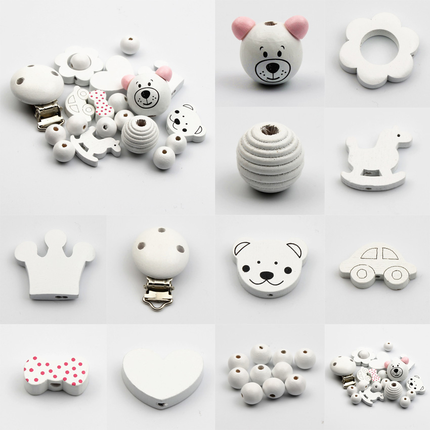 20pcs/Set Various Styles Wooden Jewelry Spacer Beading Beads Handmade DIY Pacifier Clip Necklace Bracelet Woodwork