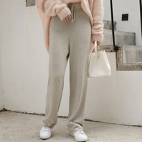 WHITE ISLAND Loose High Waist Knitted Broad Leg Trousers Female Spring Autumn Straight Wool Cashmere Pants Bottom Casual Pants