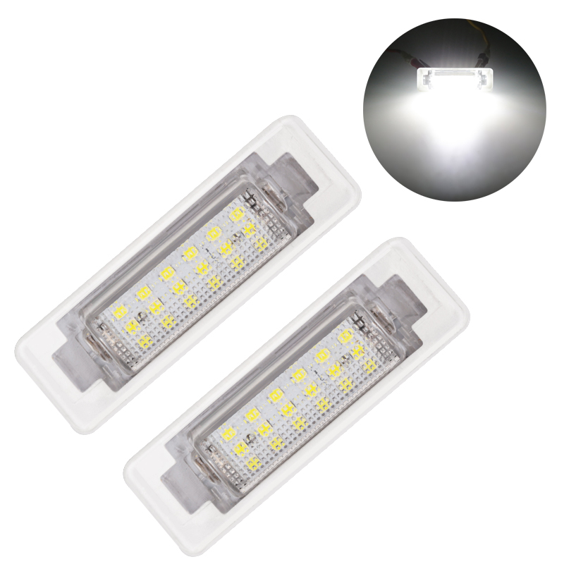 2Pcs 18 <font><b>LED</b></font> Number License Plate Lights Lamp Error Free for Mercedes Benz W210 <font><b>W202</b></font> E300 E55 Canbus 12V White License Lights image