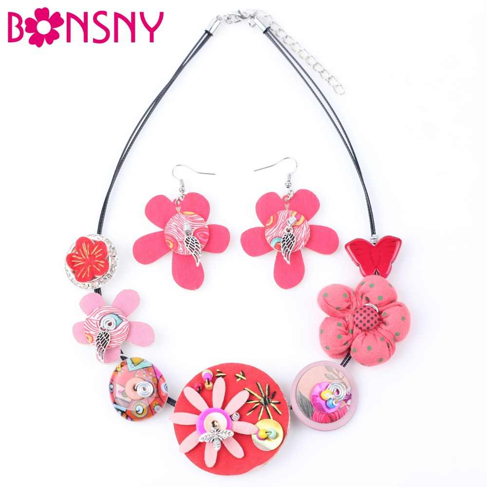 Bonsny Brand Fabric HANDMADE Statement Flower Necklace Earrings Jewelry Sets Choker Collar Fashion Jewelry For Women 2017 News