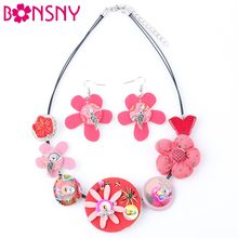 Bonsny Brand Fabric HANDMADE Statement Flower Necklace Earrings Jewelry Sets Choker Collar Fashion Jewelry For Women 2017 News(China)