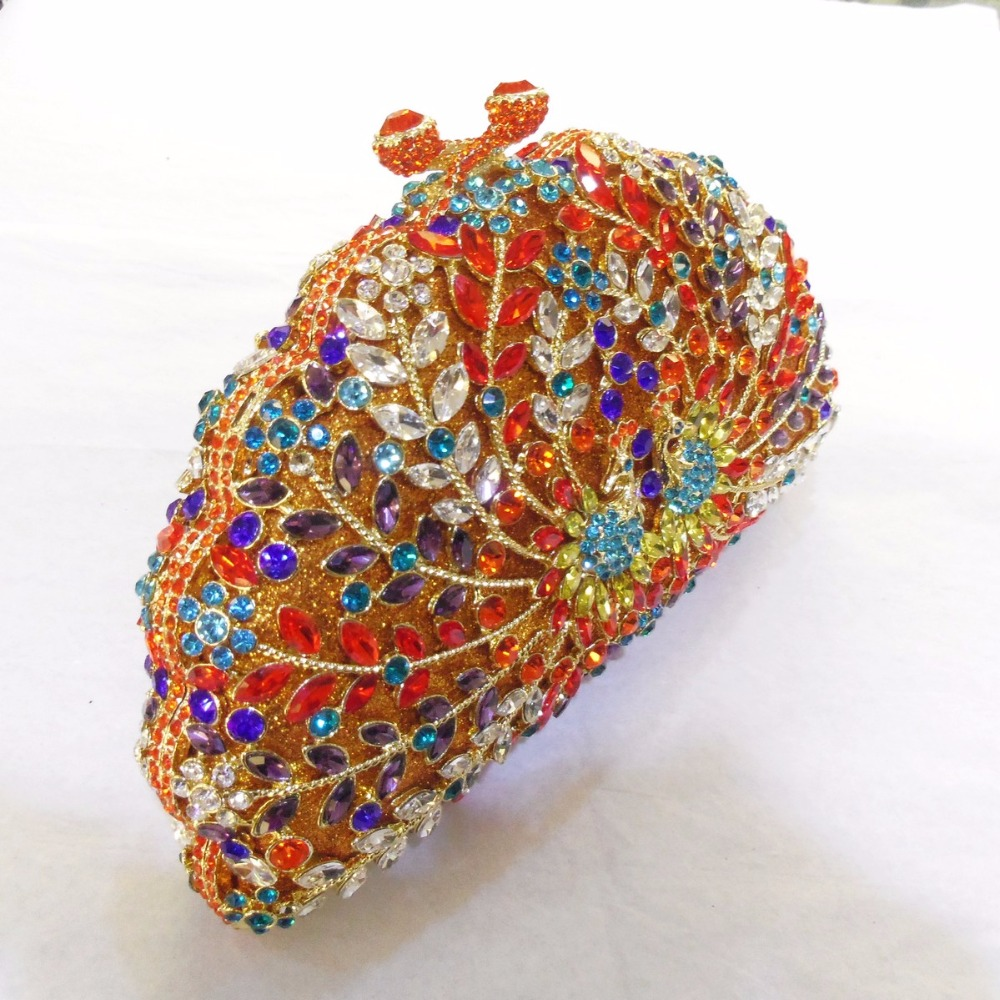 ФОТО 8106A Crystal PEACOCK Animal Bird Wedding Bridal Party Night hollow Metal Evening purse handbag clutch bag case box