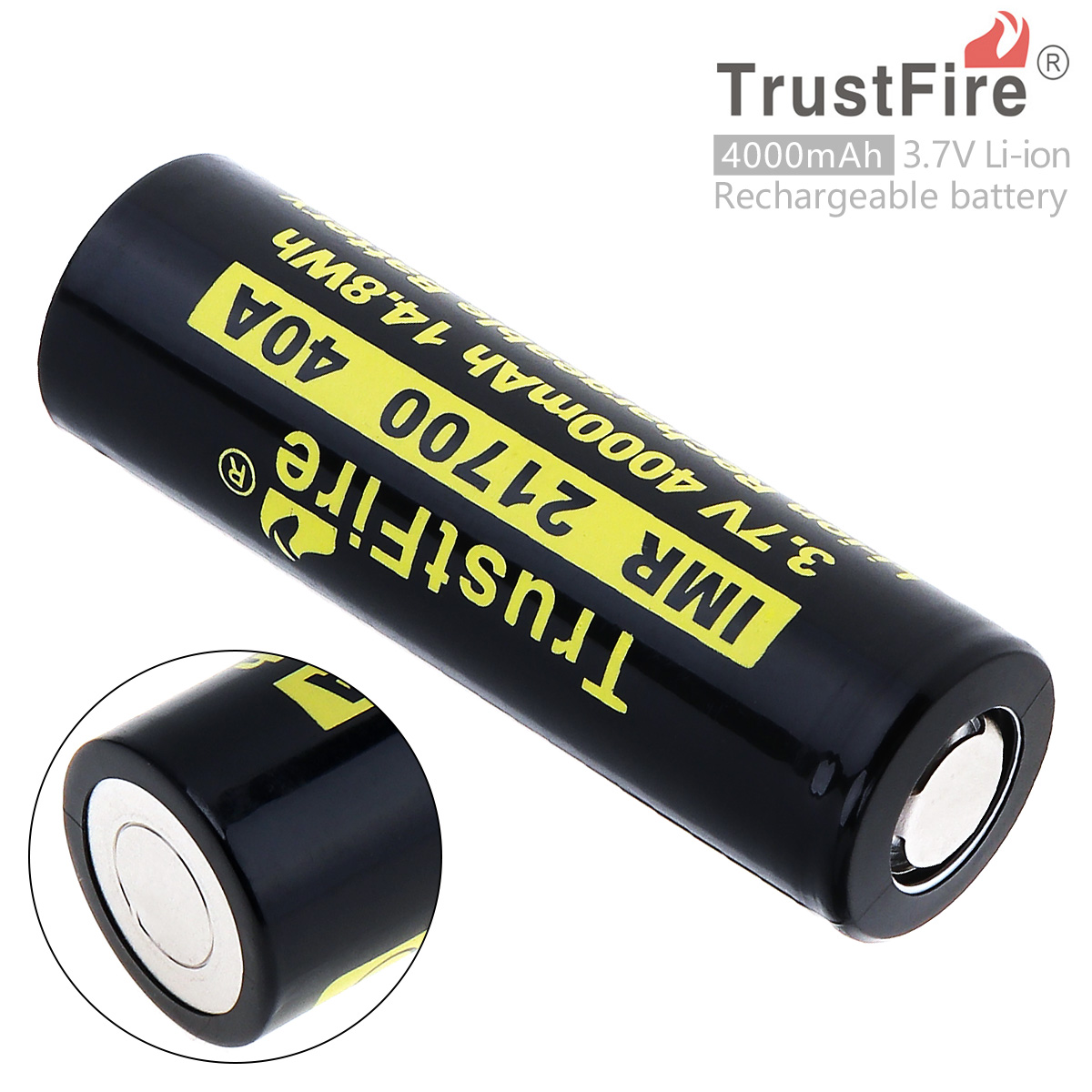 TrustFire 21700 3.7V 40A 4000mAh 14.8W Li-ion Rechargeable Battery with Protected PCB for Electric Tool/Headlamp / Bicycle Lamp