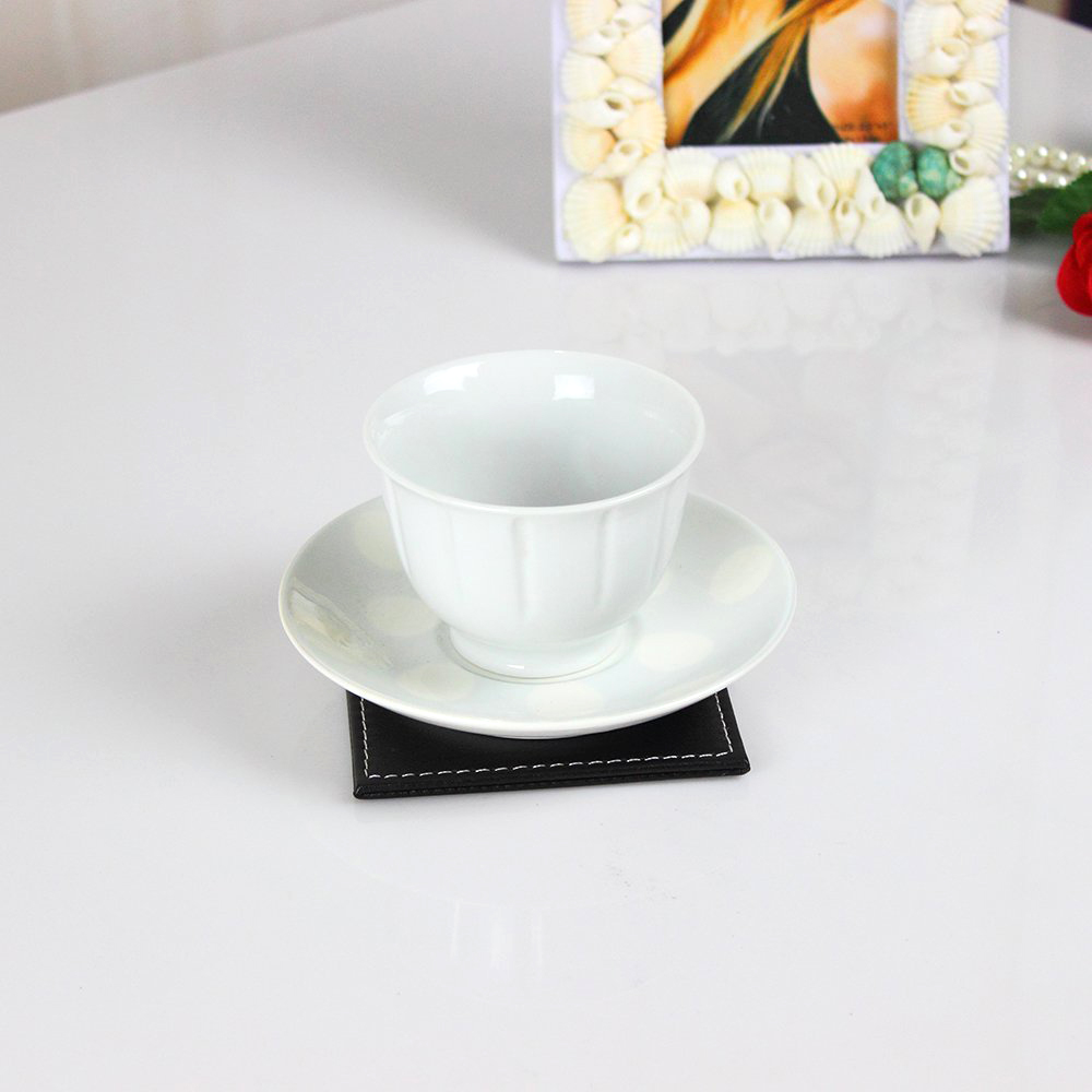 6pcs Leather Office Desk Square Coasters Set with Holder for Drinks - Black
