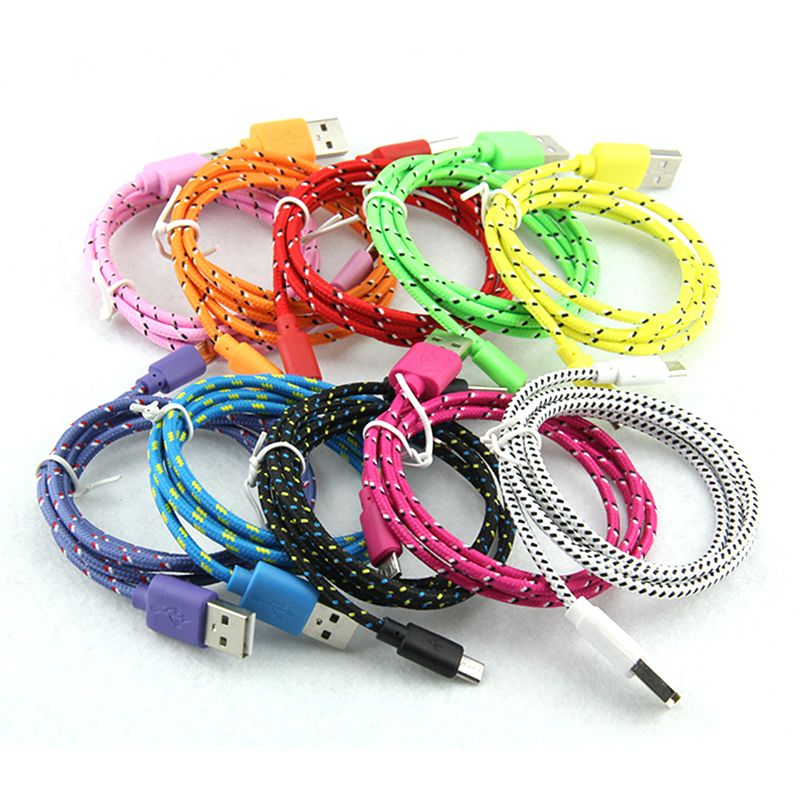 1m 3ft 2M 6ft 3m 10ft Durable Brand New High Quality Braided Wire Micro V8 Cable