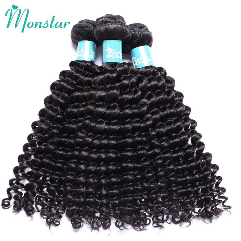 Monstar Hair 5 PC Peruvian Virgin Hair Tight Curly Bundles 100% Unprocessed Human Hair Weave Thick Double Weft Natural Color