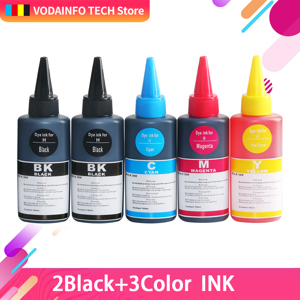 5 bottle CMYK 100ml Universal Refill Dye Ink Compatible For HP for Canon for Brother for Epson for Lexmark for DELL
