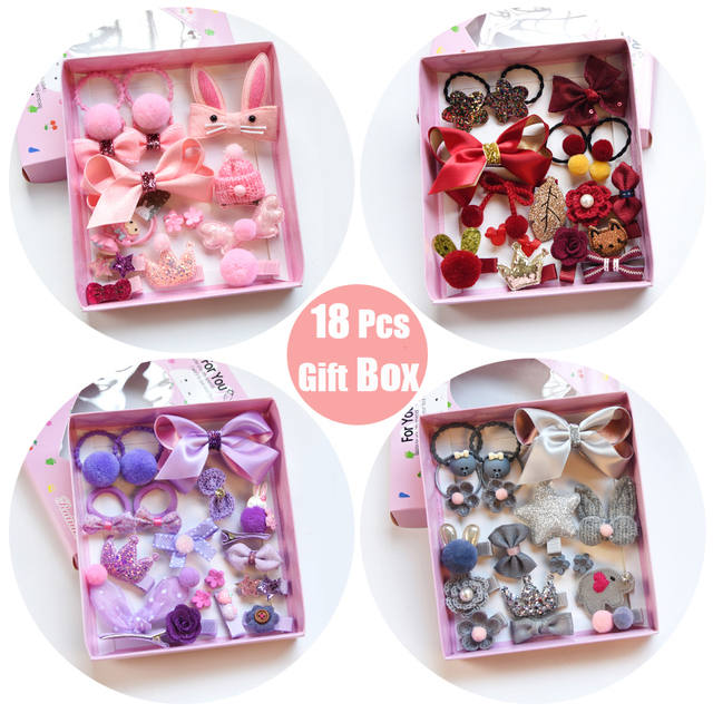Raindo 18 Pcs/Box Children Cute Hair Accessories Set Baby Fabric Bow Flower Hairpins Barrettes Hair clips Girls Headdress Gift