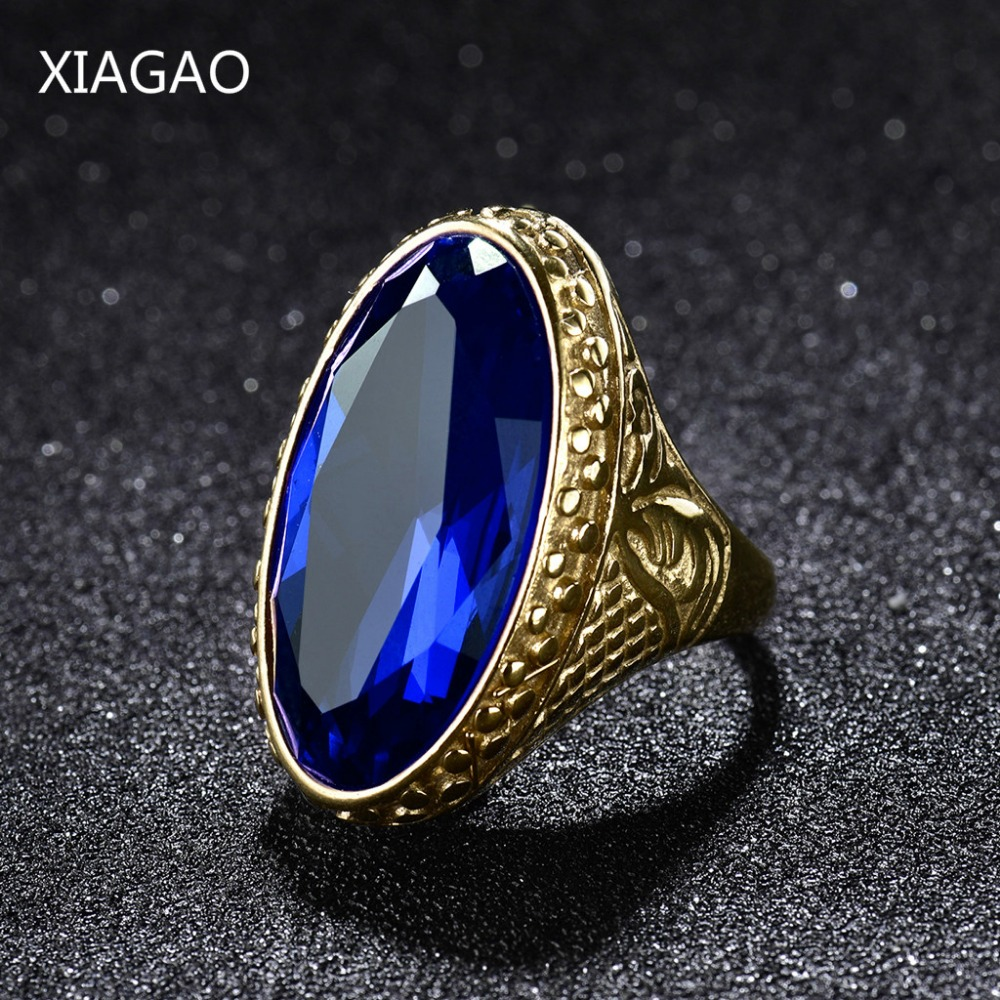 XIAGAO Military male finger ring United States Navy army Stainless steel men ring Anti effect CZ