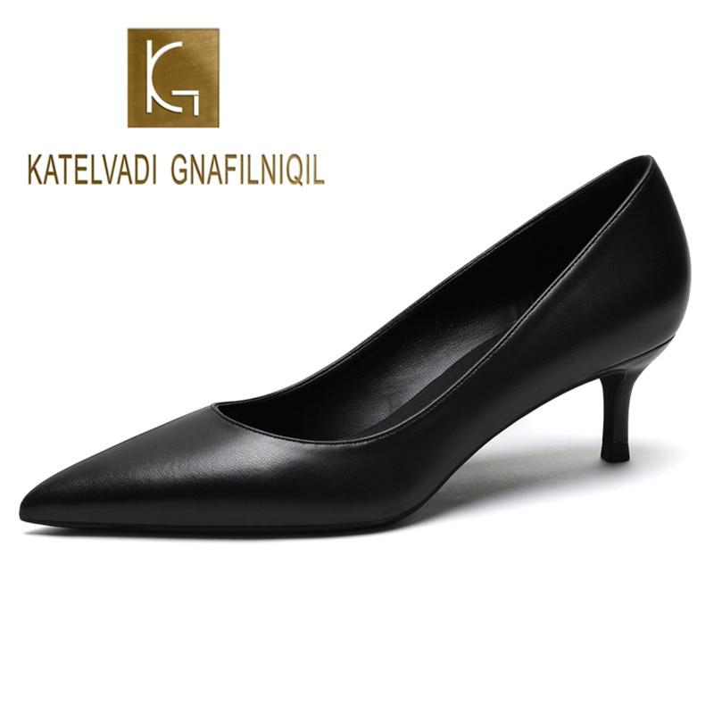 KATELVADI Shoes Women Pumps 5CM Mid Heels Black Split Leather Woman Shoes Sexy Pointed Toe Wedding Party Shoes  K-363