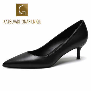 KATELVADI Shoes Women Pumps 5CM Mid Heels Black Split Leather Woman Shoes Sexy Pointed Toe Wedding Party Shoes K-363 - DISCOUNT ITEM  50 OFF Shoes