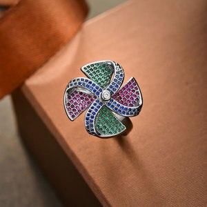 Image 4 - Viennois בציר כסף צבע נחושת אצבע טבעת עבור נשים צבעוני זירקון סלול טחנת רוח נשי גודל טבעת מסיבת תכשיטים