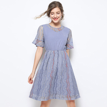 Fashion women summer dress 2019 lace dress high quality Butterfly Sleeve plus size dresses for women 4xl 5xl elegant Knee-Length