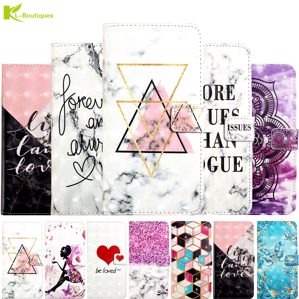 For <font><b>Samsung</b></font> Galaxy <font><b>S9</b></font> S8 Plus 3D Marble Etui on For Fundas <font><b>Samsung</b></font> S7 S7 Edge SM-G930 <font><b>Case</b></font> <font><b>Flip</b></font> Wallet Leather Stand Cover Coque image