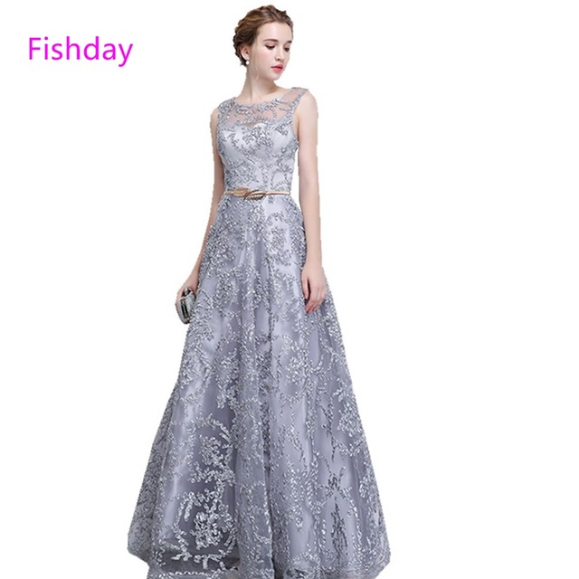 Fishday Evening Dress Lace Silver Long Plus Size Elegant Formal ...