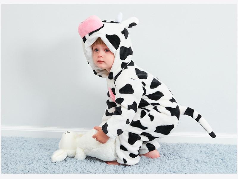 HTB1dvuWbfBj uVjSZFpq6A0SXXam Cute Cartoon Flannel Baby Rompers Novelty Rabbit Cotton Baby Boys Girls Animal Rompers Stitch Baby's Sets kigurumi New born 2019