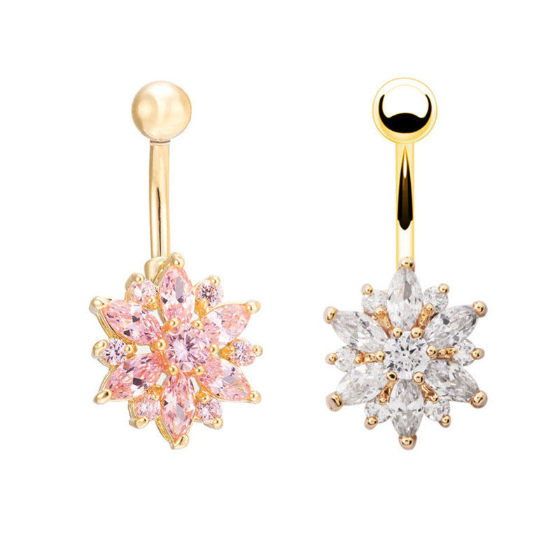 1pc  Sexy Dangling Navel Belly Button Rings Belly Piercing Crystal Surgical Steel 14g Woman Body Jewelry Barbell 2