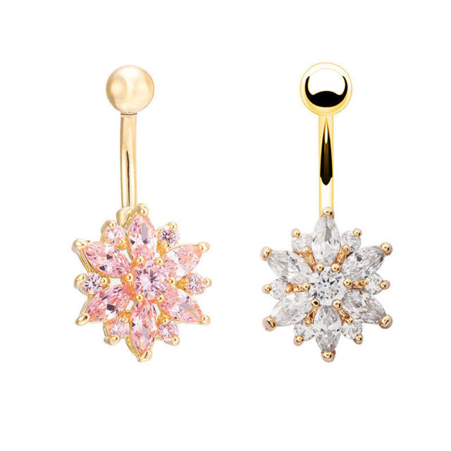 Sexy Dangling Navel Belly Button Rings Belly Piercing Crystal Surgical Steel 14g Woman Body Jewelry 2
