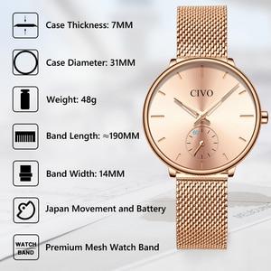 Image 4 - CIVO Luxury Casual Ladies Watch Waterproof Rose Gold Steel Mesh Quartz Watch Women Fashion Dress Watches Clock Relogio Feminino