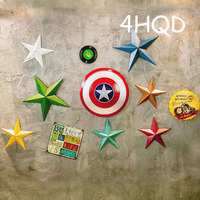 American Retro Wall Decoration Creative Five pointed Star Stereo Iron Painting Stickers Nostalgic Shop Background Wall Hangings