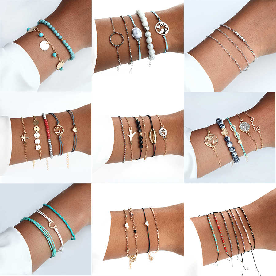 4 Pcs / Set Classic Arrow Knot Round Crystal Multilayer Adjustable Open Bracelet Set Women Fashion Party Jewelry Multiple Styles