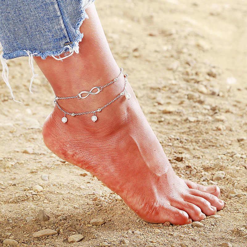 Простые женские браслеты на босую ногу в форме сердца; сандалии «кроше»; ювелирные изделия для ног; браслеты на ногу; браслеты на щиколотке для женщин; цепочка на ногу; F43