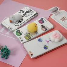 Squishy Case for iPhone 5 5s SE Cover for 6 6s 7 7 Plus 3D Soft Cute Silicone Cat Pinch Yolk TPU Coque Fundas for iPhone Covers