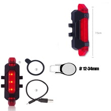 Rechargeable Mountain Bicycle Bike Cycling Tail Light MTB Safety Warning Rear Lamp Light