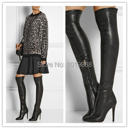 Newest Women Boots Black Leather Slim Tight knee High Boots Client ...
