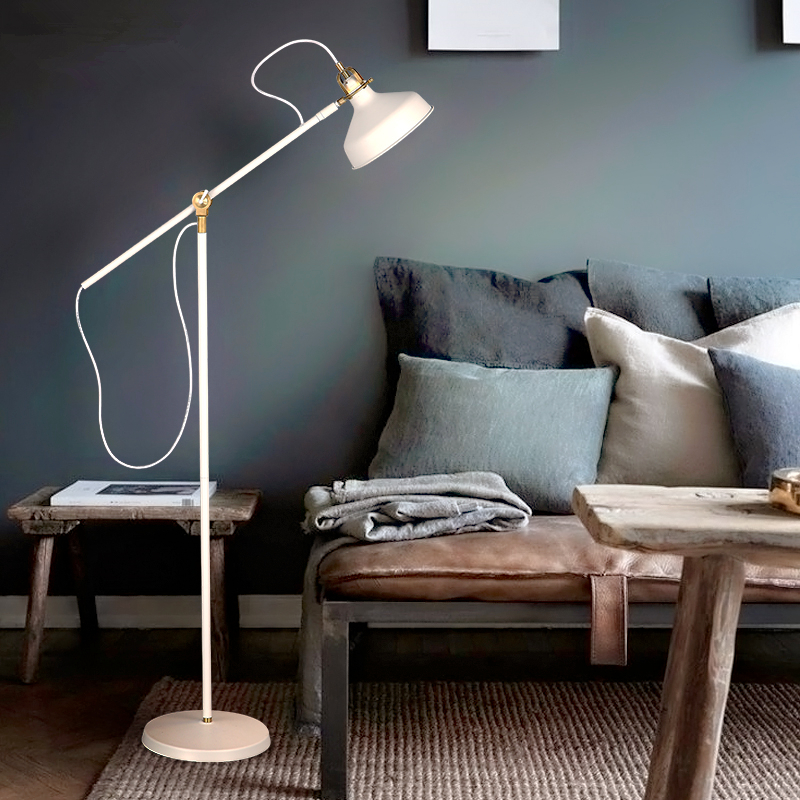 Simple bedroom study lamp Nordic floor lamp living room creative long arm office vertical floor lamps european led floor lamp simple modern living room bedroom study creative floor lamp vertical ceramic crystal landing lamps
