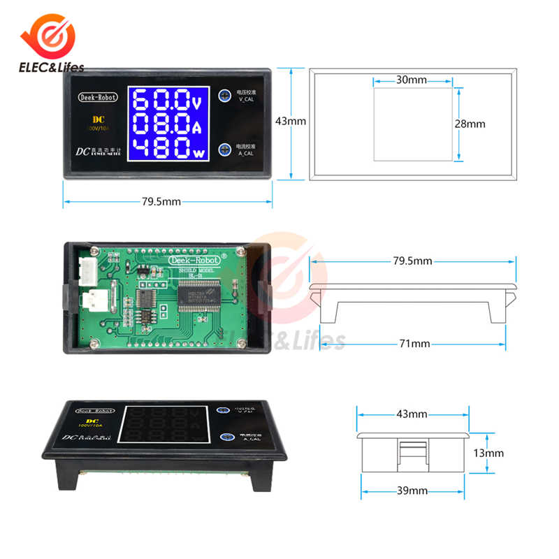 DC 200V 100V 10A LCD numérique tension courant mètre testeur réglable ampèremètre voltmètre panneau Volt AMP détecteur double affichage led