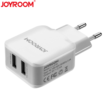 JOYROOM Charger Adapter for iphone Huawei xiaomi Redmi EU Plug Mobile Phone Travel Wall Charger 2 USB Ports iphone