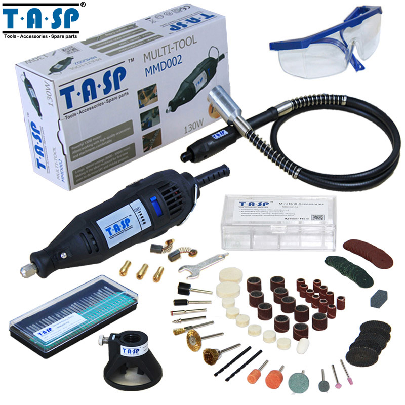 Tasp 220v 130w dremel style electric rotary tool variable speed mini drill with flexible shaft and