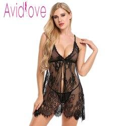 Avidlove Sexy Spitze dessous Teddies Bodys Erotische Dessous Nachtwäsche Frauen Sommer Schlaf Kleid Halter Backless Babydoll Kleid