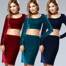 Women's Sets Sexy Velvet Outfits Bodycon Long Sleeve Crop Top Midi Skirt 2 Piece Dress