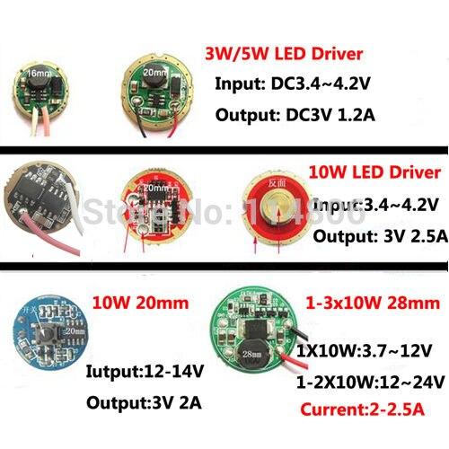3.7V 7.4V 12V 24V एलईडी चालक बिजली क्री 3W 5W 10W XPW XRE XPG2 Q5 XML L2 T6 18650 बैटरी एलईडी टॉर्च कार लाइट