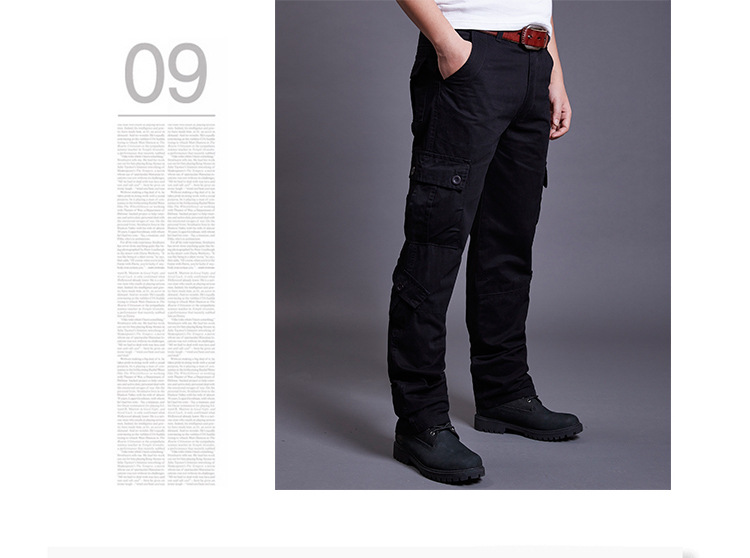 Icpans Winter Tactical Black Cargo Pants Men Loose Fit Military Style Side Pockets Army Black Denim Casual Men Pants Size 40 42 16