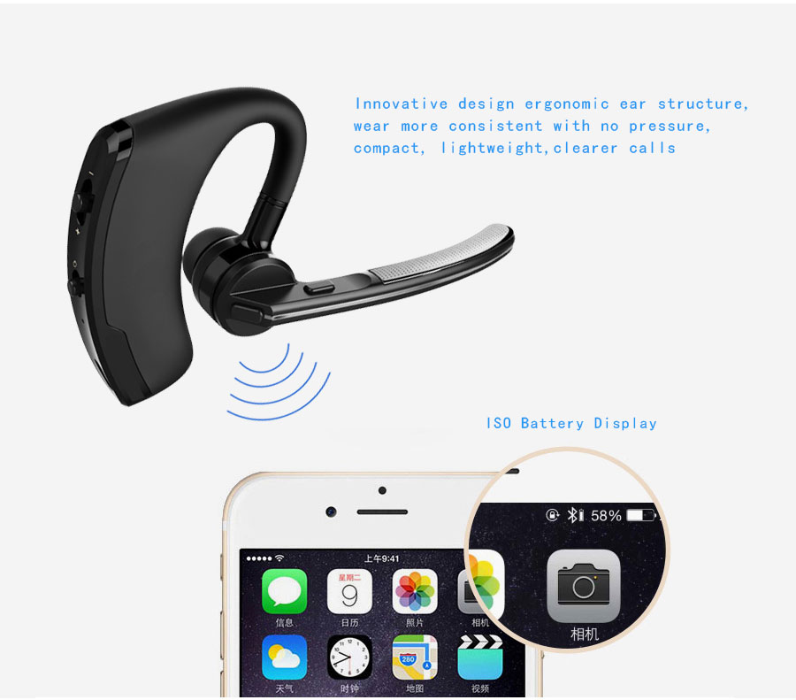 Business Bluetooth Earphone Wireless Handsfree Bluetooth V4.1 Headset With Microphone Headphone Voice For Iphone Sumsung Android_07
