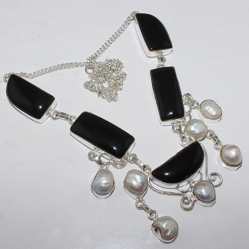 Black Onyx & Biwa Pearls Necklace Silver Overlay over Copper , 50.4 cm, N0825
